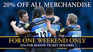 Great discounts off everything in the Bath Rugby Shop this weekend