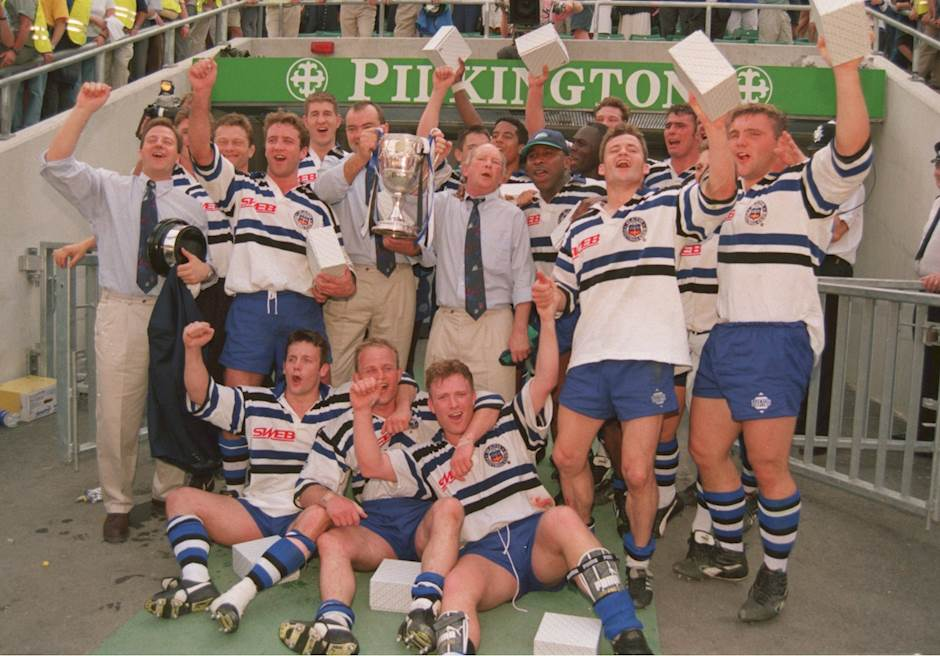 ba5acb4bc0f BATH V WASPS : 5 MAY 1995: THE BATH RUGBY UNION TEAM CELEBRATE VICTORY AFTER