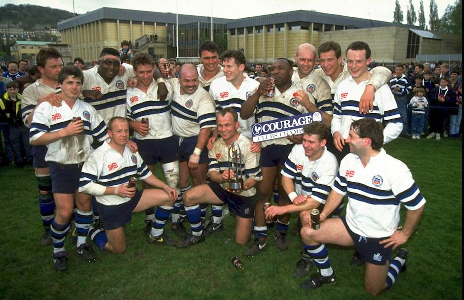 The Bath Players Celebrate After Winning Courage League Division One Match Against Saracens