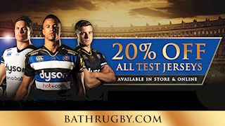 20% off all Bath Rugby Test jerseys!