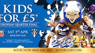 £5 Kids tickets available for Quarter-Final match with Brive