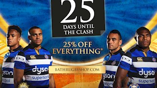 25% off everything in the Bath Rugby shop