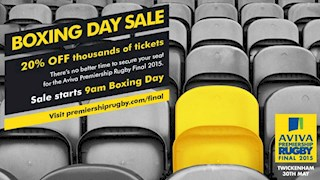 Premiership Rugby Boxing Day Sale – 20% off thousands of tickets