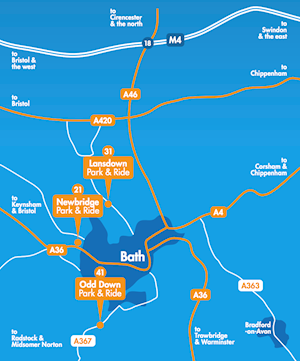 Bath City Park & Ride locations - from Visit Bath.