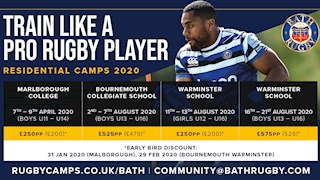 Book your place on Bath Rugby's Residential Camps